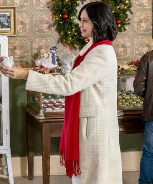 Meet Me at Christmas Catherine Bell White Long Coat