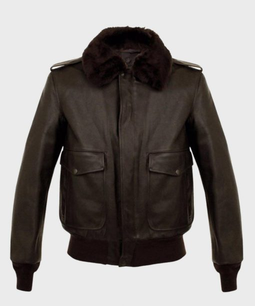 Brown Shearling A2 Bomber Leather Jacket