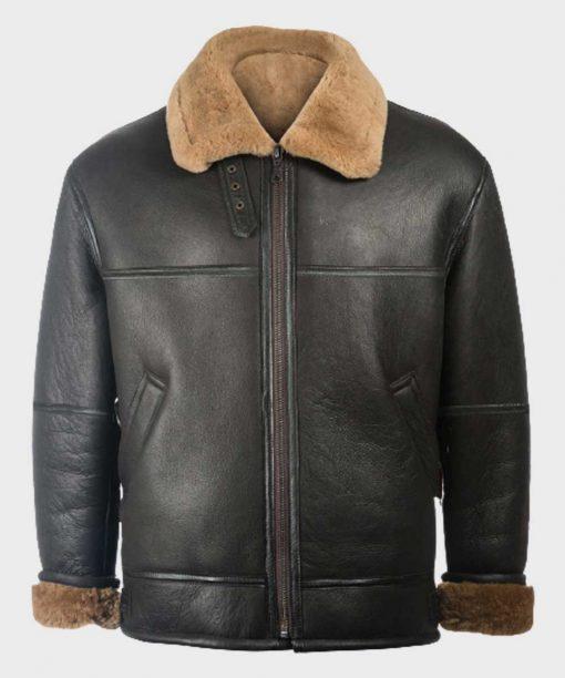 Black Shearling Sheepskin Leather B3 Jacket for Mens