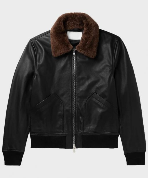 Mens Bomber Black Shearling Leather Jacket