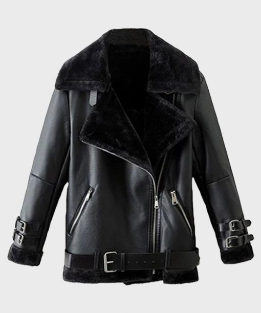 Black Shearling Leather Mens Winter Jacket