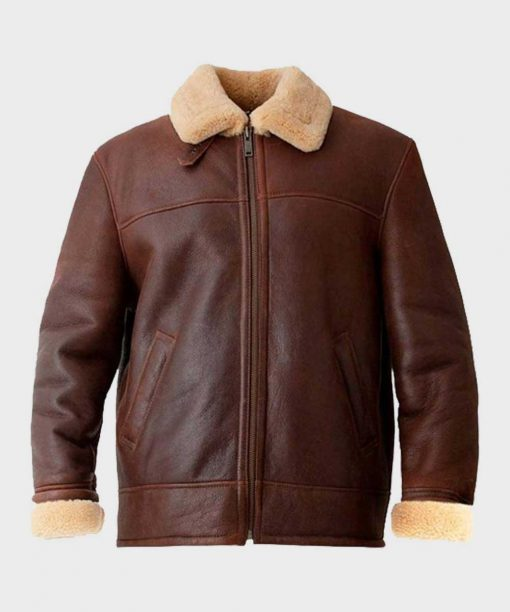 Aviator Brown Shearling Mens Leather Jacket