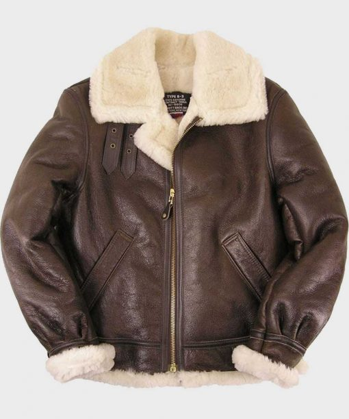 Classic B3 Brown Shearling Sheepskin Leather Jacket