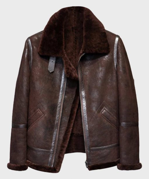 Mens B3 Shearling Distressed Brown Leather Jacket