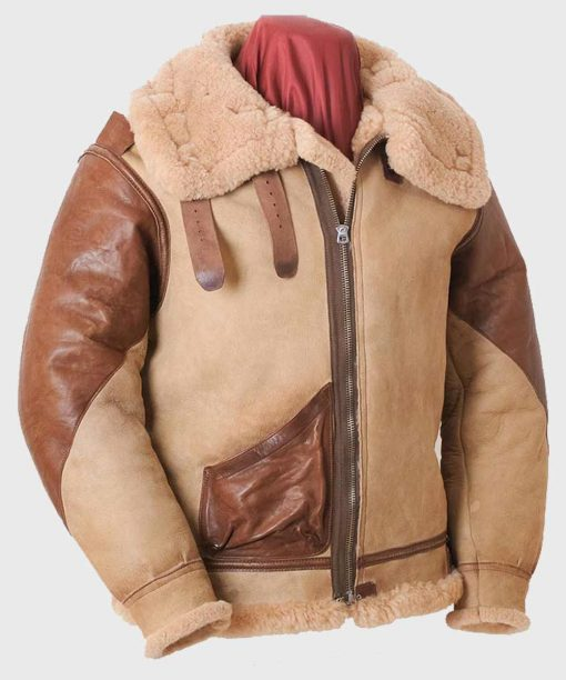 B3 Flying Brown Tan Shearling Leather Jacket for Mens Outfits