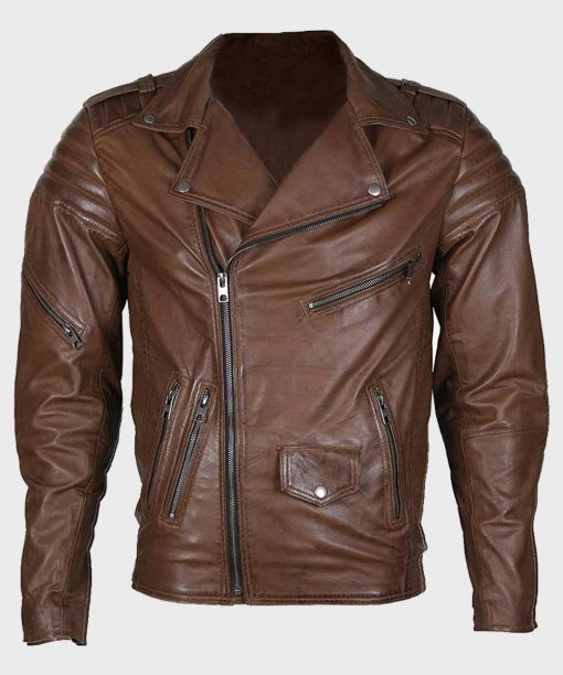 Brown Classic Motorcycle Style Leather Jacket for Mens