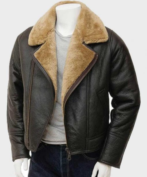 Brown Shearling Aviator Leather Jacket for Mens