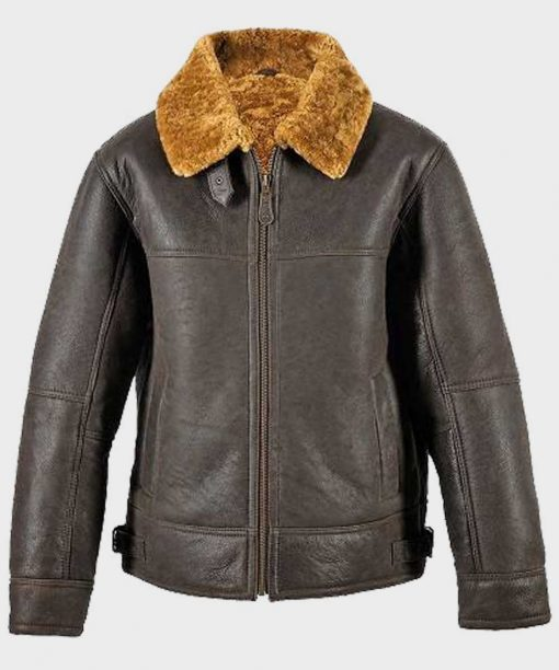 Mens Shearling Brown Leather Jacket