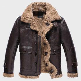 Dark Brown Fur Sheepskin Mens Shearling Leather Jacket