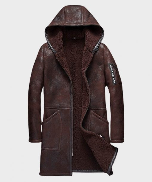 Mens Brown Hooded Shearling Sheepskin Leather Coat