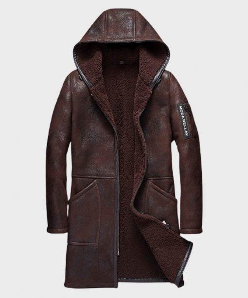 Mens Brown Hooded Shearling Sheepskin Leather Coat