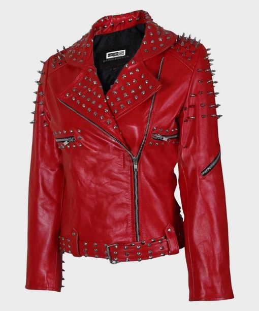 Motorcycle Studded Red Jacket with Sprikes