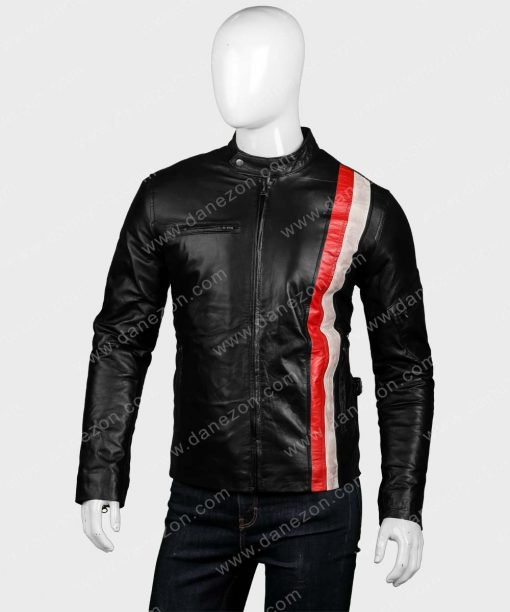 Red and White Black Biker Jacket for Mens Outfits