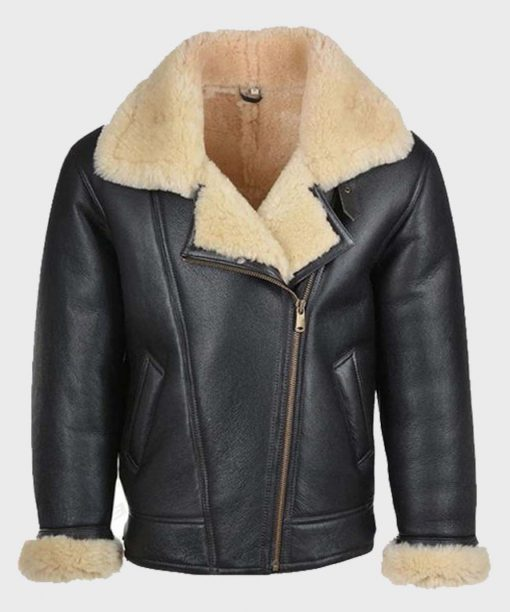 Mens Black B3 Shearling Leather Jacket