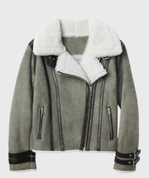 Mens Grey Sheepskin Leather Shearling Jacket