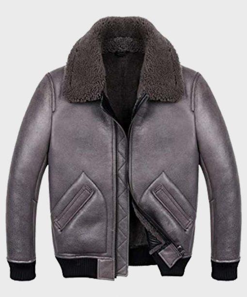 Grey Shearling B2 Sheepskin Leather Jacket for Mens