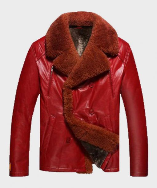 Mens Winter Red Shearling Jacket