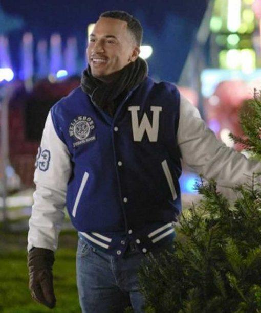 Christmas Comes Twice Michael Xavier Blue Letterman Jacket