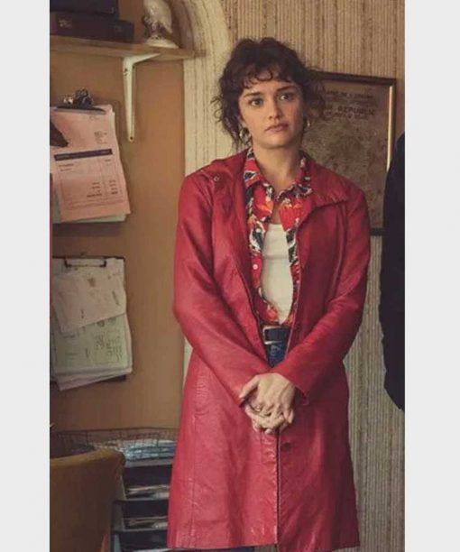 Pixie Olivia Cooke Red Leather Jacket