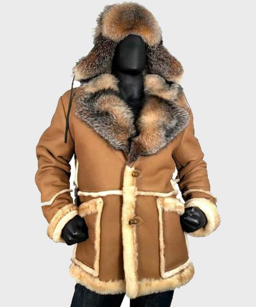Peter Sheepskin Shearling Toggled Coat