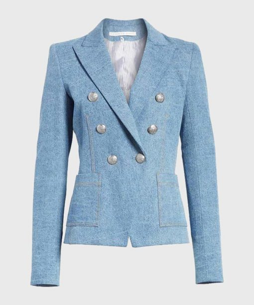 The Perfectionists Caitlin Lewis Blue Double-Breasted Blazer