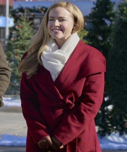 Amanda Schull Project Christmas Wish Maroon Coat