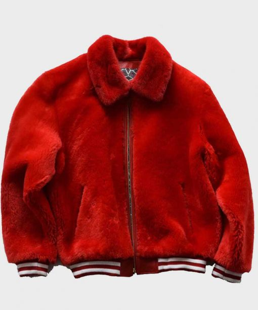 Red Winter Shearling Varsity Jacket
