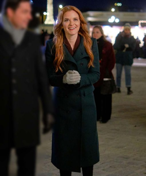 Christmas in Vienna Sarah Drew Green Double-Breasted Coat