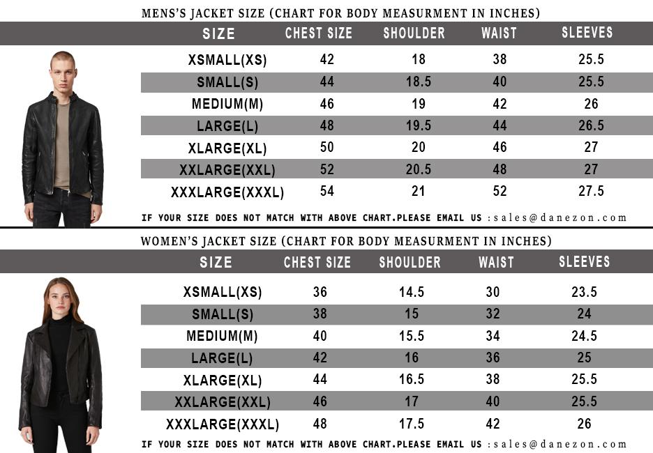 Danezon Size Chart