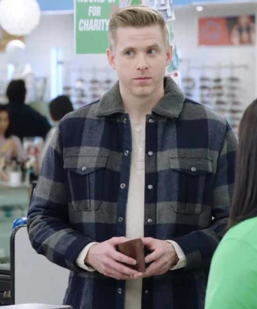 Superstore S05 Spencer Ralston Checkered Jacket Grey Shearling Collar