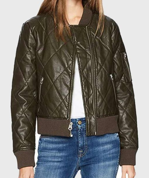The 100 S06 Lindsey Morgan Green Leather Jacket