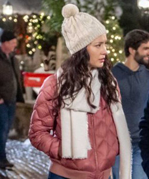 The Christmas Bow Lucia Micarelli Pink Bomber Jacket