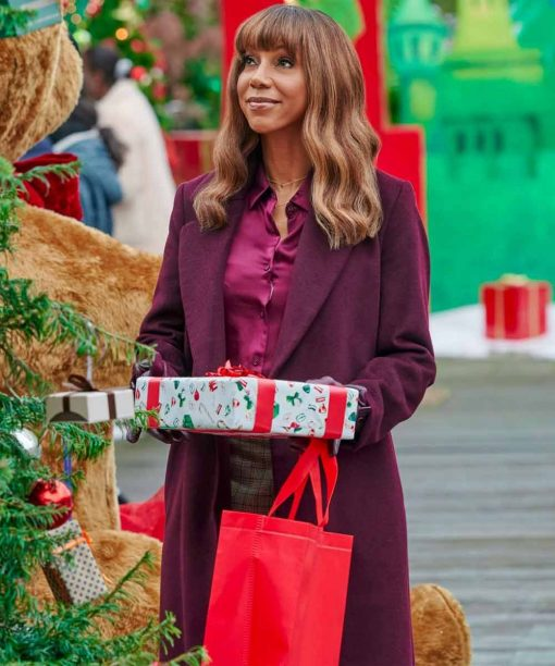 The Christmas Doctor Holly Robinson Peete Purple Coat