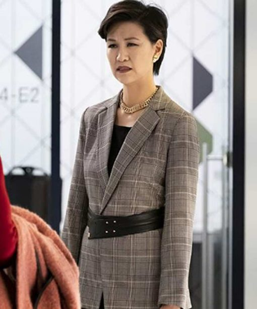 The Flight Attendant Cindy Cheung Grey Blazer Coat