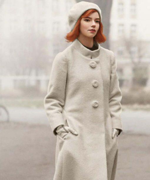 The Queen's Gambit Anya Taylor-Joy White Trench Coat