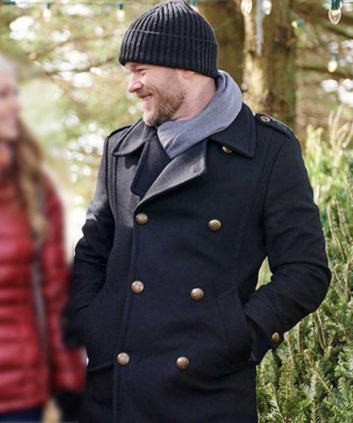 The Santa Squad Aaron Ashmore Black Wool-Blend Coat
