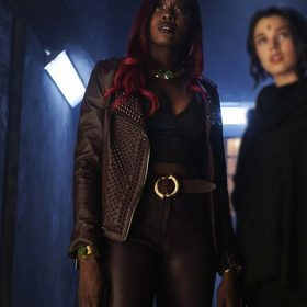 Titans Anna Diop Brown Studded Jacket