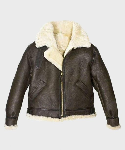 Womens Aviator Shearling Brown Leather Jacket