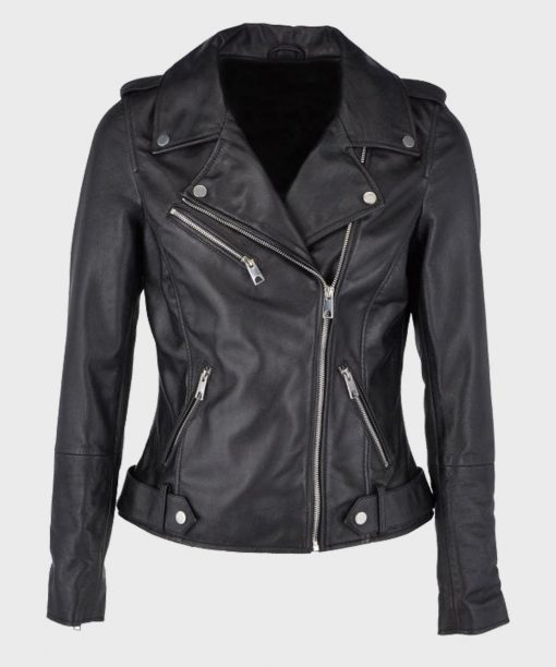 Women's Asymmetrical Black Leather Biker Motorcycle Jacket