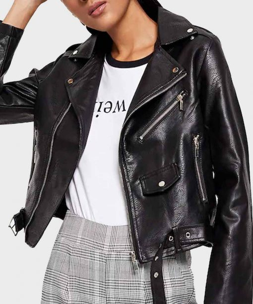 Womens Black Motorcycle Leather Jacket