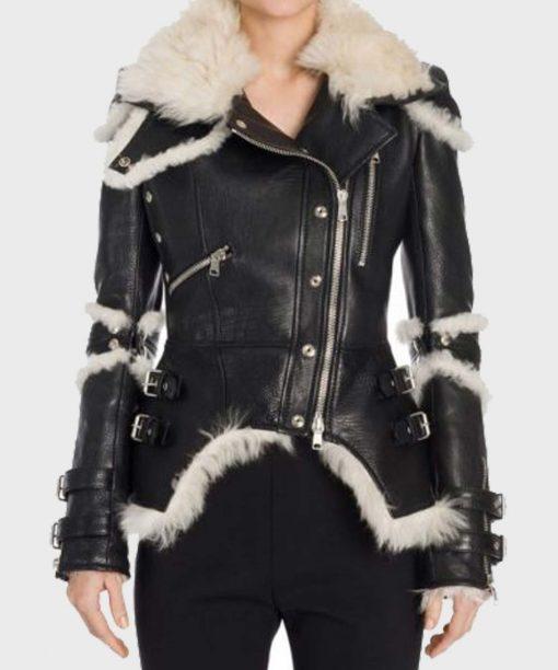 Black Leather Shearling Womens Biker Jacket