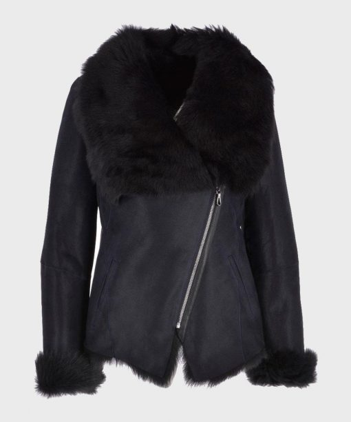 Womens Black Leather Shearling Fur Jacket
