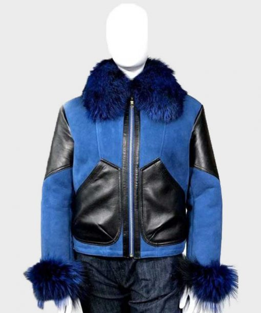 Womens Blue Faux Fur Shearling Suede Leather Jacket