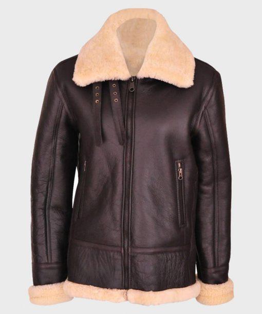 Women's B3 Brown Shearling Aviator Leather Jacket