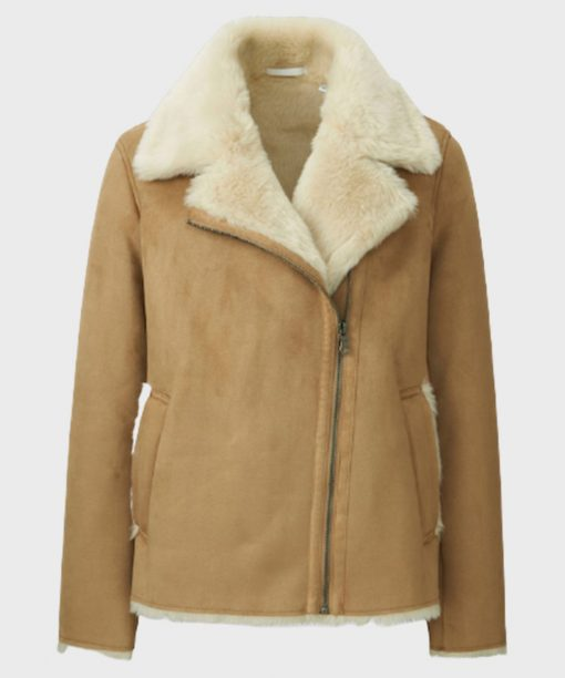 Women's Faux Shearling Brown Leather Jacket for Winter Outifts