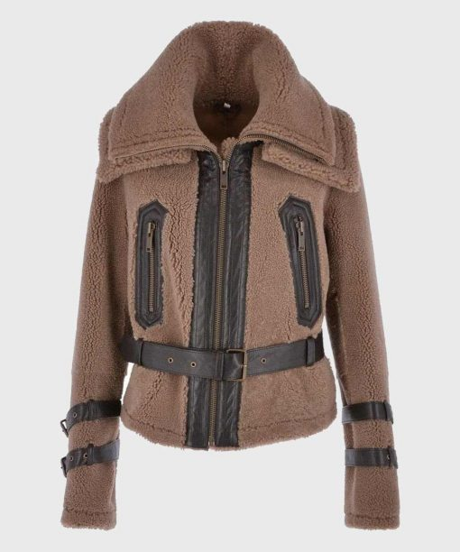 Brown Fur Womens Shearling Jacket with Belt