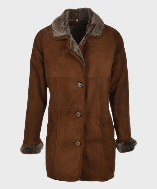 Dark Brown Shearling Leather Coat