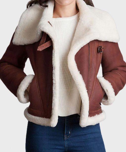 Womens Brown Sheepskin Leather Jacket