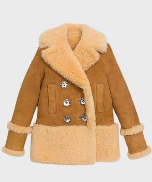 Womens Sheepskin Brown Shearling Leather Peacoat