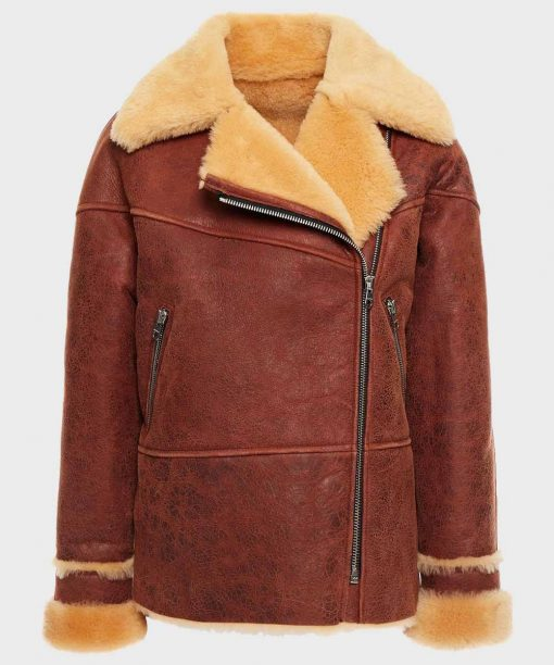 Womens Brown Distressed Leather Shearling Jacket